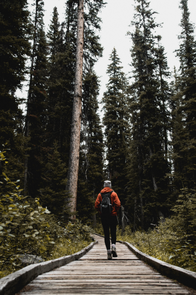 Girl hiking on vancouver island in canada