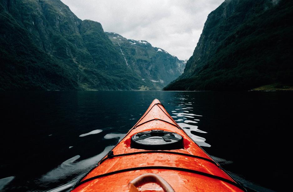 orange kayak in seward alaska