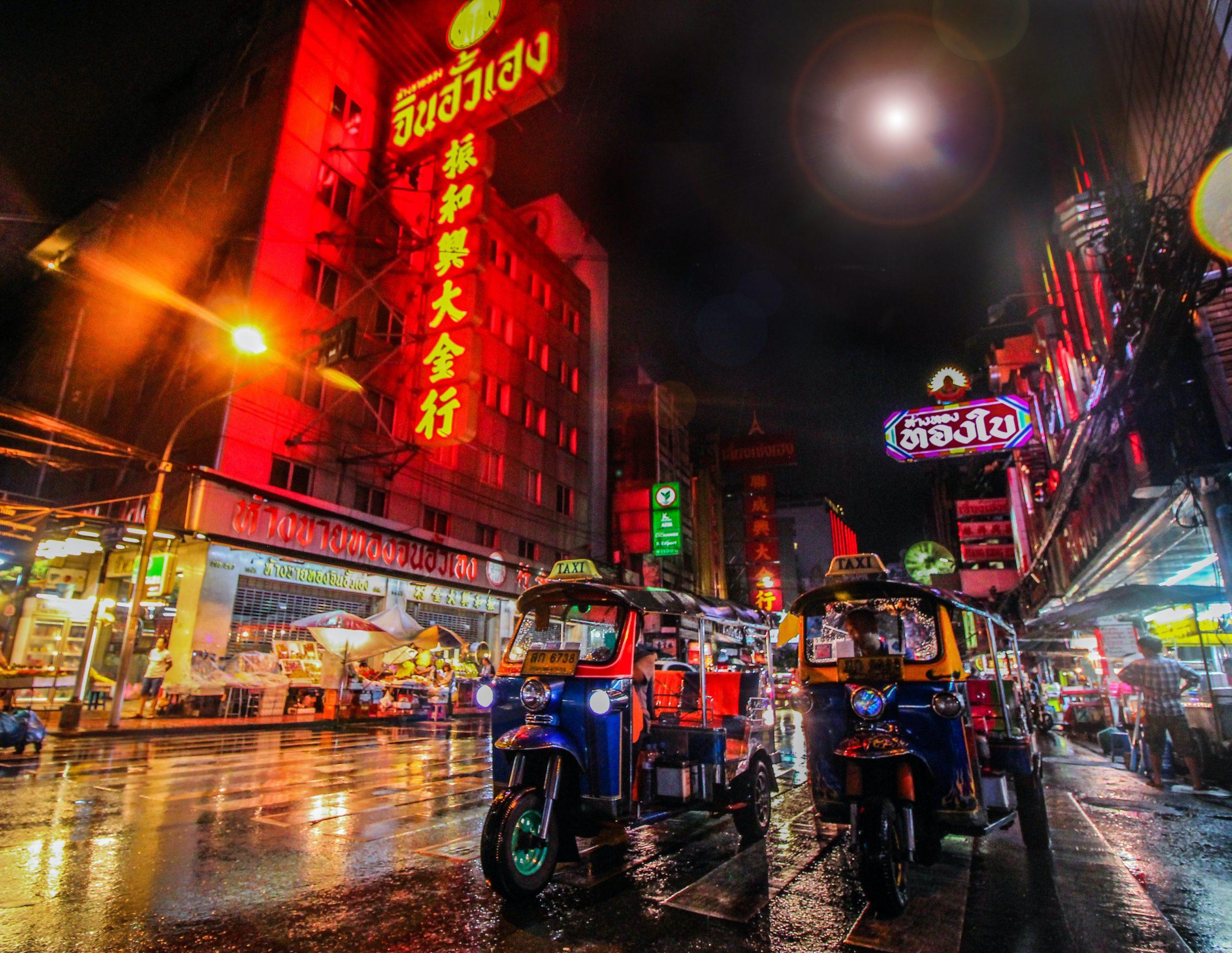Tuk Tuk's on the street in Bangkok Thailand