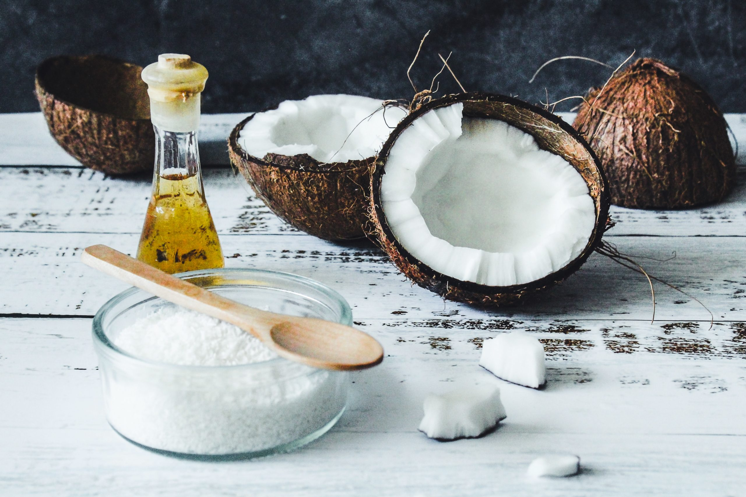 ingredients for a coconut oil and honey hair mask