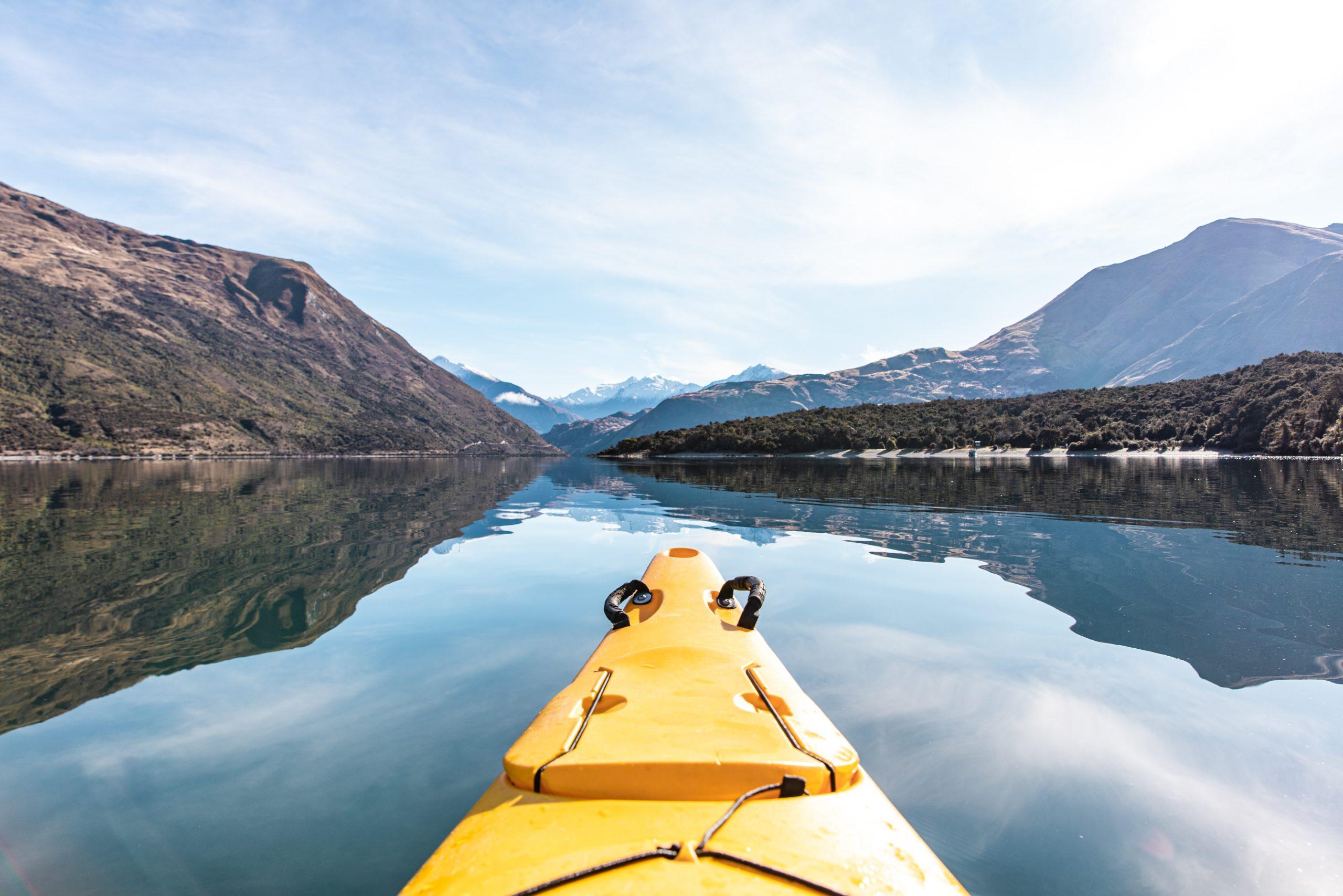 kayaker in Lake Wanaka  New Zealand