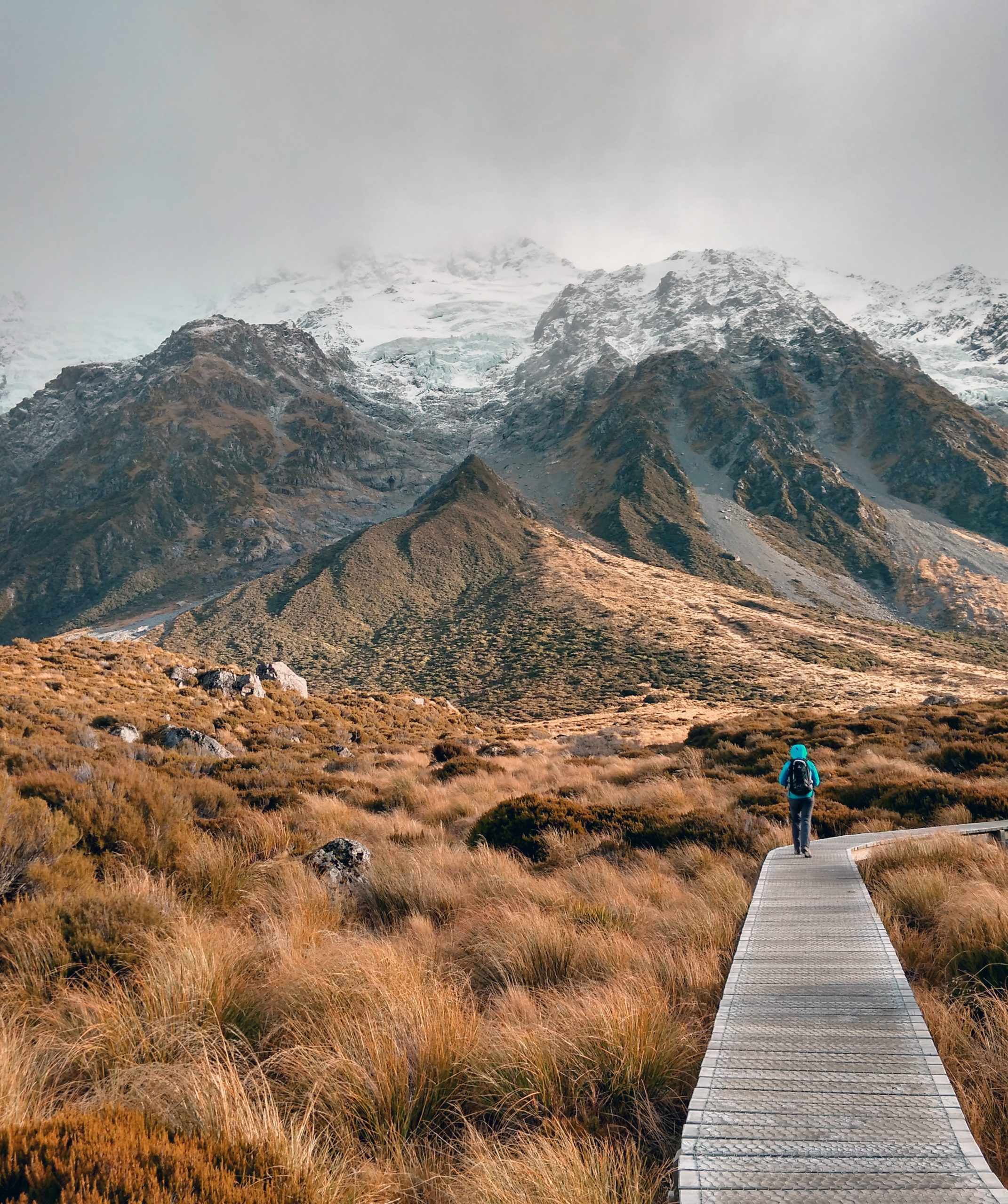 Person hiking in Mount Cook National Park, New Zealand