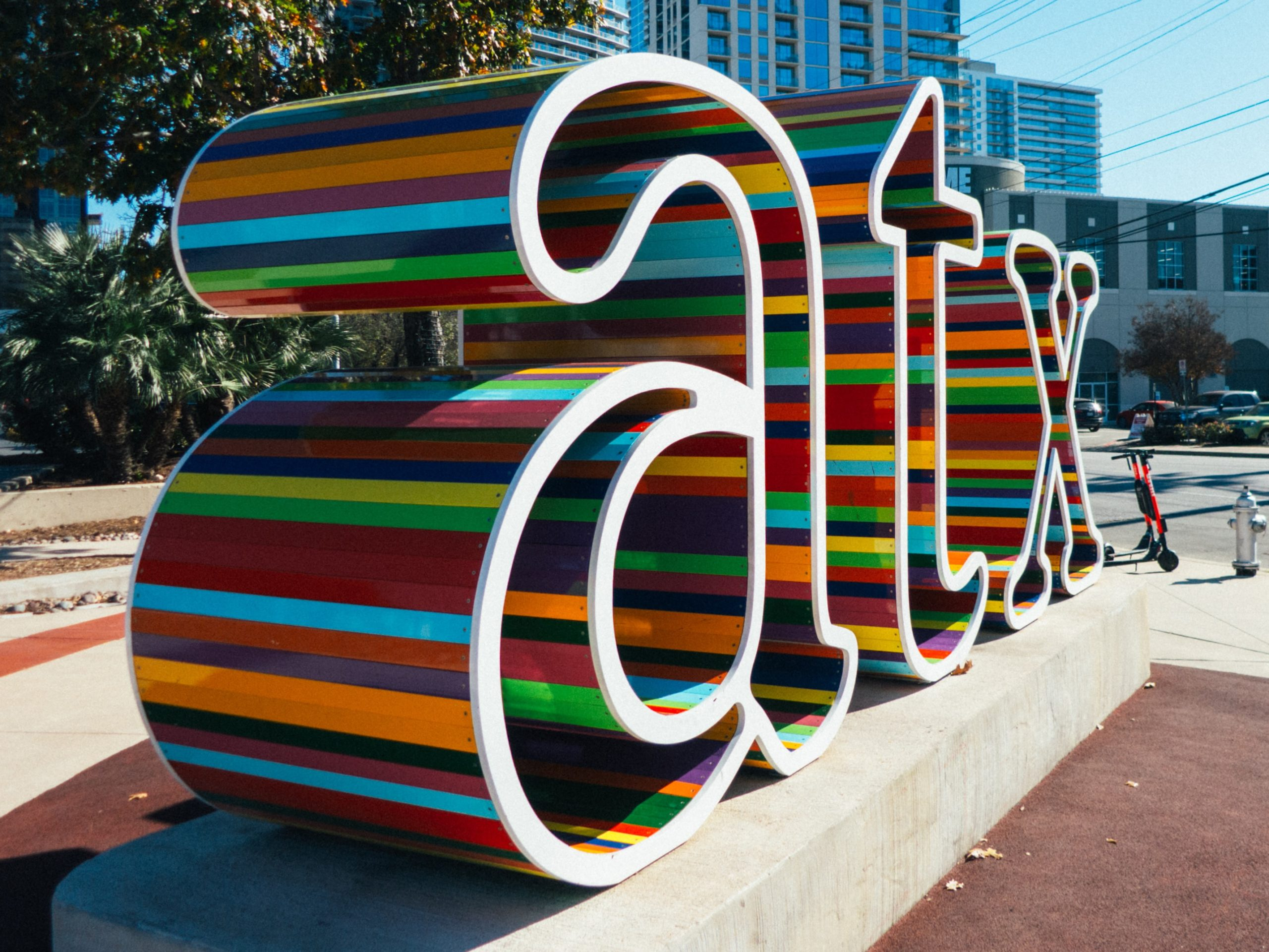 colorful, lowercase atx letters in downtown Austin, Texas