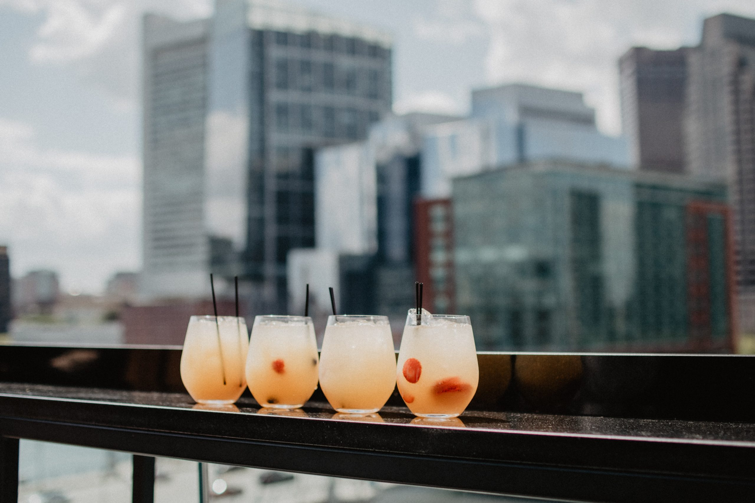 Fresh cocktails are best enjoyed in front of this skyline during a weekend in Boston.