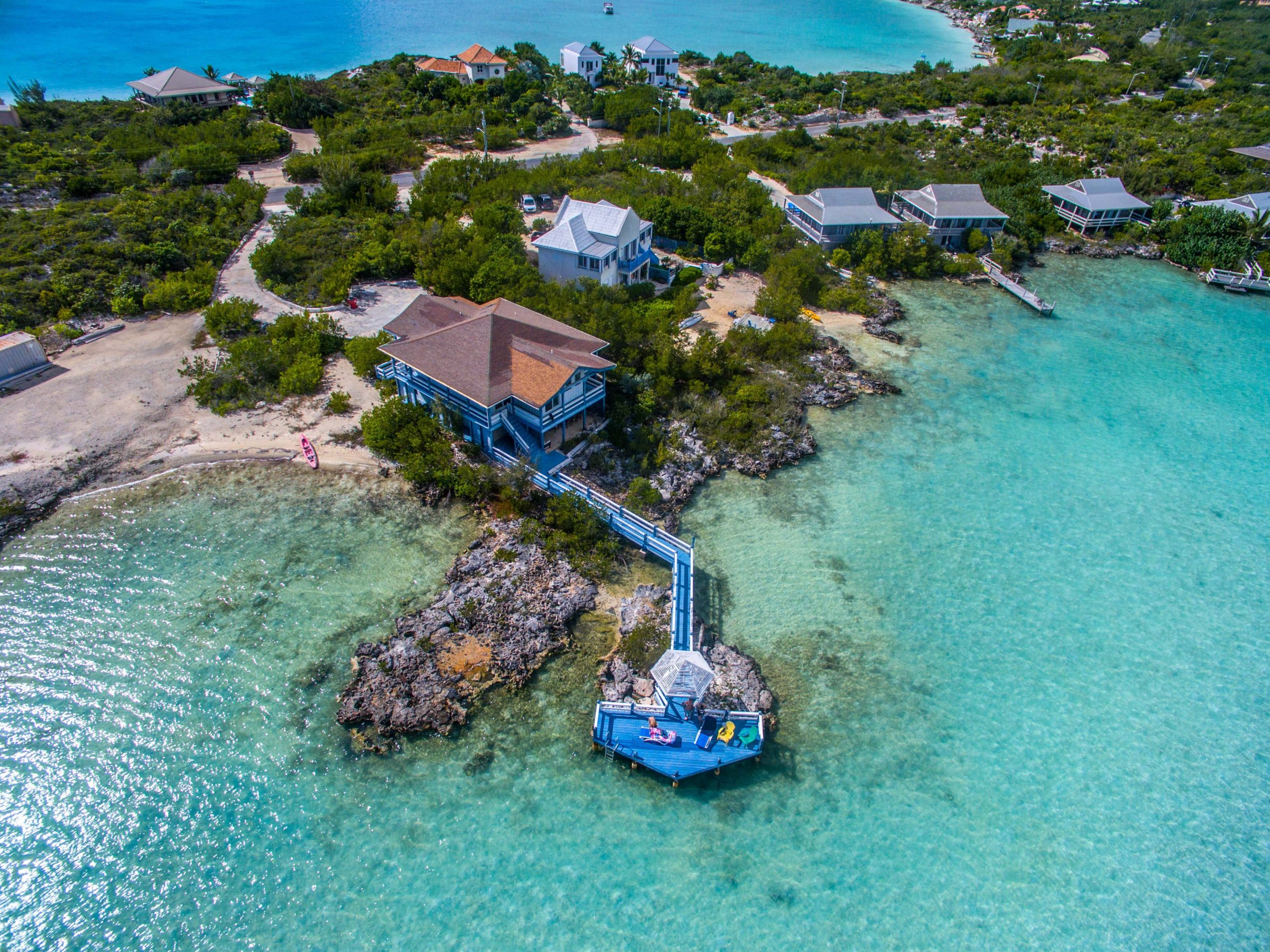 birds eye view of a safe island in turks and caicos